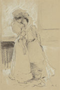 Fine Art - Painting, American, J. André Castaigne (French, 1861-1929). Fainting Spell.Pencil and pastel on paper. 11-1/4 x 7-1/2 inches (28.6 x 19.1 c...