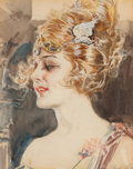 Works on Paper, Howard Chandler Christy (American, 1872-1952). Woman Wearing Winged Tiara. Watercolor on paper. 13 x 10-1/4 inches (33.0...
