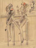 Fine Art - Painting, American, Milivoy Uzelac (American, 1897-1950). Au Bar. Pencil and pastel on paper. 18-1/2 x 14 inches (47.0 x 35.6 cm) (sight). S...