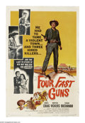 "Movie Posters:Western, Four Fast Guns (Universal International, 1960). One Sheet (27"" X 41""). 1870s Arizona. Sabin (James Craig) takes on the town ..."