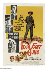 "Four Fast Guns (Universal International, 1960). One Sheet (27"" X 41""). 1870s Arizona. Sabin (James Craig) take..."