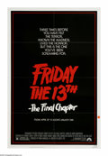 """Movie Posters:Horror, Friday the 13th: The Final Chapter (Paramount, 1984). One Sheet (27"""" X 41""""). The Final Chapter, indeed! This was the fourth ..."""