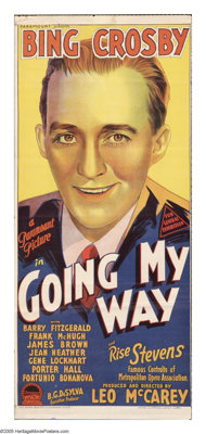 """Going My Way (Paramount, 1944). Australian Daybill (13"""" X 30""""). Bing Crosby won his only Oscar in this story o..."""