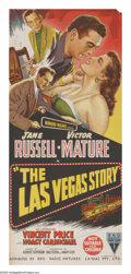 "Movie Posters:Drama, The Las Vegas Story (RKO, 1952). Australian Daybill (13"" X 30""). This film teams Jane Russell with Victor Mature in a romant..."
