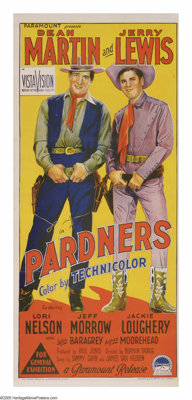 """Pardners (Paramount, 1956). Australian Daybill (13"""" X 30""""). Dean Martin and Jerry Lewis team up in the Wild We..."""