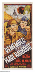 "Movie Posters:War, Remember Pearl Harbor (Republic, 1942). Australian Daybill (13"" X30""). GI ""Lucky"" Smith (Don ""Red"" Berry) is always getting..."