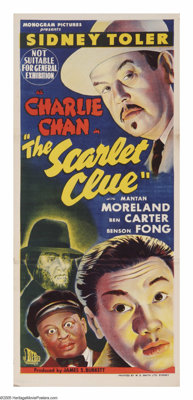 """The Scarlet Clue (Monogram, 1945). Australian Daybill (13"""" X 30""""). After the death of Warner Oland, Sidney Tol..."""