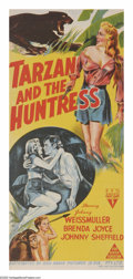 "Movie Posters:Adventure, Tarzan and the Huntress (RKO, 1947). Australian Daybill (13"" X30""). One of the most popular of the later RKO Tarzan series ..."