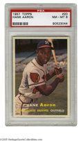 Baseball Cards:Singles (1950-1959), 1957 Topps Hank Aaron #20 PSA NM-MT 8. Top-shelf example of thisfan favorite, popular not only for the regal subject matte...