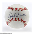 Autographs:Baseballs, Hank Aaron Single Signed Baseball, PSA 8. Perfect 10/10 black inksweet spot signature, while the early ONL (Feeney) ball r...