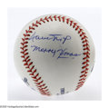 Autographs:Baseballs, Willie Mays Single Signed Baseball, PSA 8. Wonderful blue ink PSA 8signature on an OML ball also graded 8 for an overall g...