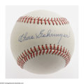 Autographs:Baseballs, Charles Gehringer Single Signed Baseball. OAL (Brown) baseballoffers 10/10 blue ink sweet spot signature from the Detroit T...