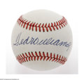 Autographs:Baseballs, Ted Williams Single Signed Baseball. A perfect blue ink sweet spotsignature from the Greatest Hitter That Ever Lived. OAL...