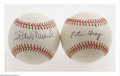 Autographs:Baseballs, Stan Musial and Pete Gray Single Signed Baseballs. Stan MusialONL(Giamatti) baseball offers 10/10 blue ink sweet spot signa...(Total: 2 Items)