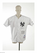 Autographs:Jerseys, Roger Clemens Signed Jersey. Special Yankees replica jersey offersa 10/10 blue sharpie signature from the superstar pitche...