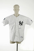 Autographs:Jerseys, Derek Jeter Signed Jersey. Everyone's favorite Yankee! Perfectreplica of Jeter's 2000 World Series home jersey is signed b...