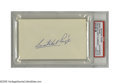 Autographs:Index Cards, Satchel Paige Signed Index Card. The Negro League Hall of Fame pitcher penned his perfect blue ink signature on a blank 3x5...