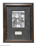 """Autographs:Others, Mickey Cochrane Signed Display. Strong ink inscription reading""""Best Wishes, Mickey Cochrane"""" is matted and framed to gorge..."""