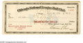 "Autographs:Checks, 1924 Bill Veeck, Sr. Signed Check. Payroll check to Guy ""TheMississippi Mudcat"" Bush offers a 10/10 authorizing signature ..."