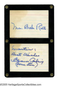 Autographs:Others, Mrs. Babe Ruth & Mrs. Lou Gehrig Autographs. Pair of signaturesfinds each legendary Yankees' widow in strong blue ink on a...