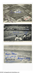 Autographs:Post Cards, Baseball Superstars Multi-Signed Postcards Lot of 11. Selection ofeleven postcards picture old time ballparks, each signed...