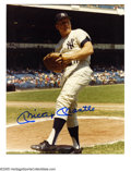 "Autographs:Photos, Mickey Mantle Signed Photograph. Rare color image of the Mick inpinstripes measures 8x10"". Perfect blue sharpie signature..."