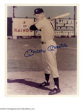 """Autographs:Photos, Mickey Mantle Signed Photograph. Rookie season photo of the Yankeesuperstar (note the number """"6"""" on his back!) bears a 10/..."""