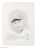 "Autographs:Others, Mickey Mantle Signed Print. Fine artistic rendering of the Mick asa rookie is number ""10/1000"" of artist Daniel Cooney's p..."