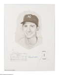"""Autographs:Others, Billy Martin Signed Print. Fine artistic rendering of Martin as arookie is number """"31/1000"""" of artist Daniel Cooney's prin..."""