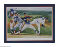 Autographs:Others, Nolan Ryan Signed Lithograph. The Strike Out King moves through theuniforms of his career in a single pitching motion in t...