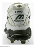 Baseball Collectibles:Others, Circa 2003 Miguel Tejada Game Worn Spikes. Heavy wear on these sizeten Mizuno spikes in the colors of the Oakland Athletic...