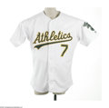 "Baseball Collectibles:Uniforms, 2001 Jeremy Giambi Game Worn Jersey. This home white Oakland Athletics jersey dates from the season of Giambi's famed ""non-..."