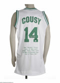 Basketball Collectibles:Others, Bob Cousy Signed Jersey. Fine replica of his Boston Celtics whitemesh gamer is signed on the rear numerals in 10/10 silver...