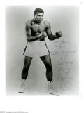 Boxing Collectibles:Autographs, Muhammad Ali & Floyd Patterson Signed Photographs. Pair ofgreat black and white images offer equally excellent inscription...