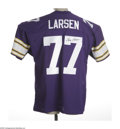 Football Collectibles:Others, Gary Larsen Signed Jersey. Fine mesh replica of the 1970s Minnesota Vikings uniform with perfect black sharpie signature on...