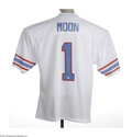 Football Collectibles:Others, Warren Moon Signed Jersey. Perfect white mesh Oilers replica jersey styled from the era of the quarterback's days down in T...