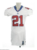 Football Collectibles:Uniforms, 2001 Tiki Barber Game Worn Jersey. White mesh New York Giants jersey shows fine wear from this star running back, with vari...