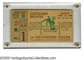 Football Collectibles:Tickets, 1949 Cleveland Browns vs. Baltimore Colts Ticket Stub. Excellent condition ticket stub from game featuring two of the spor...