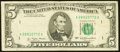 Error Notes:Obstruction Errors, Missing District Seal Obstruction Error Fr. 1974-A $5 1977 FederalReserve Note. Very Fine.. ...