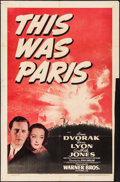 "Movie Posters:War, This Was Paris (Warner Brothers, 1942). One Sheet (27"" X 41"").War.. ..."