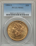 Liberty Double Eagles: , 1884-S $20 MS61 PCGS. PCGS Population: (672/1397). NGC Census: (1051/839). CDN: $1,480 Whsle. Bid for problem-free NGC/PCGS...