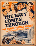 """Movie Posters:War, The Navy Comes Through (RKO, 1942). Trimmed Window Card (14"""" X 18"""")& Lobby Cards (2) (11"""" X 14""""). War.. ... (Total: 3 Items)"""