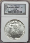 Modern Bullion Coins, 1986 $1 Silver Eagle 20th Anniversary Collection MS70 NGC. NGC Census: (1646). PCGS Population: (132). Mintage 5,393,005....