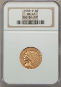 Indian Half Eagles: , 1908-D $5 MS63 NGC. NGC Census: (950/493). PCGS Population: (1357/410). CDN: $805 Whsle. Bid for problem-free NGC/PCGS MS63...