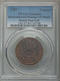 Colonials, 1787 COPPER Connecticut Copper, Mailed Bust Left -- Environmental Damage -- PCGS Genuine. VF Details. NGC Census: (9/72). P...