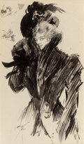 Fine Art - Painting, American, Harrison Fisher (American, 1875-1934). Woman with Muff, 1898. Ink wash on board. 15-3/4 x 9-1/4 inches (40.0 x 23.5 cm) ...