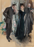 Paintings, Howard Chandler Christy (American, 1872-1952). The Suitors, 1910. Gouache on board. 38-1/2 x 28-1/4 inches (97.8 x 71.8 ...