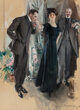 Howard Chandler Christy (American, 1872-1952) The Suitors, 1910 Gouache on board 38-1/2 x 28-1/4 inches (97.8 x 71.8