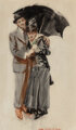 James Montgomery Flagg (American, 1877-1960) Sharing an Umbrella, Judge magazine cover, October 17, 1914 Watercolor on...