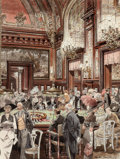 Works on Paper, Leslie Saalburg (American, 1897-1974). Crowd at Roulette Table. Watercolor and ink on paper. 12-1/4 x 9-1/4 inches (31.1...